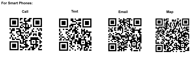 qr codes for smartphones, qr call, qr text, qr email, qr map. Get a qr reader for your smartphone  and read QR tags with your scanner.